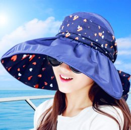 f2b9298834a 2019 New Foldable Sunshade UV Protection Wide Brim Sun Hat For Women Summer  Visor Hat Beach Cap Panama Chapeau Femme Gorra Mujer