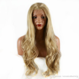 Blonde Resistant Synthetic Fiber Australia - Hot Selling Cosplay Party Glueless Blonde Long Nature Wavy Synthetic Lace Front Wig Soft Heat Resistant Fiber Hair for Women Free Part