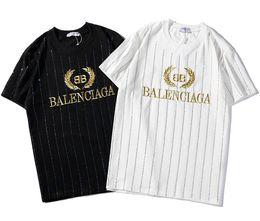 China 2019 new Summer tee bb gc men women Golden letter logo embroidery rhinestone T-Shirt short Sleeve O-neck T-Shirt wholesale S-XXL cheap rhinestone letter t suppliers