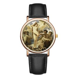Discount painting glasses - Fashion casual Art style Character pattern Oil painting style sect luxury dress Quartz watch