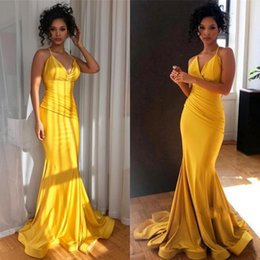 Cheap strap size free online shopping - Yellow Spaghetti Strap Prom Dresses Satin Ruffles Simple Cheap Formal Evening Dresses Sweep Train Cocktail Party Gowns
