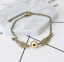 golden snitch bracelets Australia - The New Quidditch Golden Snitch Pocket Bracelet Wings Vintage Retro Tone For Men And Women Wholesale Bracelet Punk