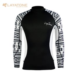 surfing clothes Australia - LayaTone long Sleeves Swimwear Men Surf Clothing Diving Suits Shirt Swim Suit Sailing Running Tshirts Bathing Suits Rash Guard