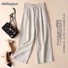 $enCountryForm.capitalKeyWord NZ - Helisopus Summer Cotton Linen Pants For Women Wide Leg Trousers Ol Leisure Loose Solid Color Pants Women's Elastic Waist Pants Y190430