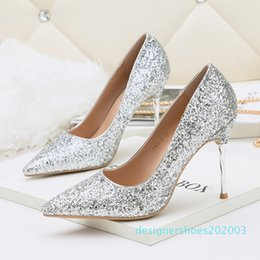 glitter silver prom heels 2020 - Glitter Sequined Wedding Shoes Bridal Silver White Pointy Toe High Heels Pumps Event Prom Party size 34 to 39 d03 cheap