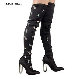 5e9487600d7 Runway Women Over The Knee Boots Embroidered Party Designer Shoes Woman  Pointed Toe Sexy Clear High Heels Thigh High Socks Boots