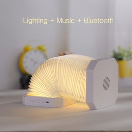 Wholesale LED Nightlight USB rechargeable folding lamp creative ,Built-in bluetooth speaker Listening to music Microphone Bass Subwoofer Loudspeaker