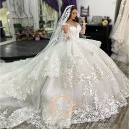 lace wedding dress layers sheer UK - Gorgeous Lace Ball Gown Wedding Dresses Princess With Long Sleeve V-neck Ruffle Layers Chapel Train Bridal Dress Vestidos De Novia Plus Size