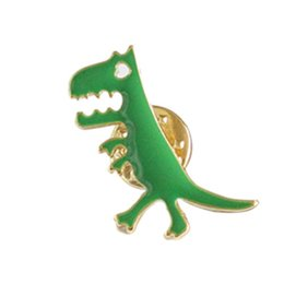 simple girls dresses UK - Green Simple Minimalist Cute Cute Girl Dripping Dinosaur Child Female Brooch Dress Brooch Accessories Simple Style Wild