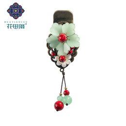 $enCountryForm.capitalKeyWord NZ - Ethnic Green Lampwork Petals Flower Tassel Hair Pin Clip for Women Shell Flower Jad e Tassel Hair Accessories Jewelry FJ-18021
