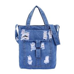 $enCountryForm.capitalKeyWord Australia - 2019 Denim Crossbody Bags Girls Large Denim Ripped Tote Handbag Fashion Designer Shopping Bag for Women Soft Shoulder Bags