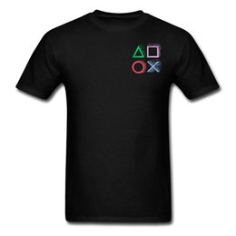 Shirt patternS for men free online shopping - Black T shirts Playstation Controller Unit Rainbow Pattern Game Personalized Tshirts For Men Geometry VideoGame