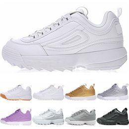 sale retailer 9b1b3 b93b1 FILA disruptor 2 II Scarpe da corsa viola bianca bianca originale firmata da  donna, nuove sneakers da uomo bianche grigie in pelle color oro rosa
