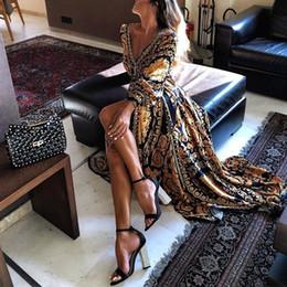 Sexy european clubwear online shopping - Vintage Elegant Women Sexy dress Boat Neck Glitter Deep V Neck Print Party Dresses Formal Long Dress party Clubwear LJJA2306