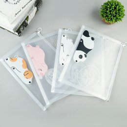 office filing supplies Australia - Bear Pencil bag Creative A4 Transparent File Bag Plastic Pull Ring Zipper Storage Bag School Office Supplies