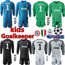 22c018399fe 2018 19 Youth Long Sleeve Juventus Goalkeeper Jerseys Kids Soccer Sets  1  Buffon Kid Goalkeeper Jerseys  1 Szczesny Children Boys Uniform