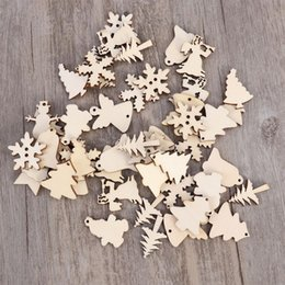 art crafts for christmas Canada - 50pcs Wooden Angel Pattern For Christmas Tree Decoration Scrapbooking Hanging Ornament Snowman Snowflake DIY Art Crafts Decor A3