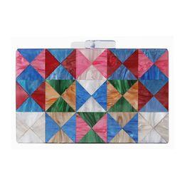 Discount shoulder clutch bag chain - Women's New Acrylic Clutch Bag Triangle Stitching Wedding Dinner Clutches Female Fashion Chain Shoulder Messenger B