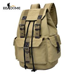 $enCountryForm.capitalKeyWord UK - Top Canvas Backpack Men Drawstring Webbing Snap Travel Luggage Army Bags Military Rucksack Hiking Climbing Bags Mochila Xa452wd