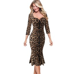 $enCountryForm.capitalKeyWord Australia - Elegant Womens Vintage Leopard Print Solid Pinup Casual Cocktail Party Bodycon Fitted Mermaid Midi Mid-calf Dress 1360 designer clothes