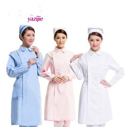 NursiNg wear cottoN online shopping - Nurse long sleeve winter pharmacy beauty salon supplies beauty wear white gown round collar skirt work clothes