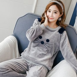 Blue Bear Suit Australia - Autumn And Winter Women Pyjamas Sets Thick Warm Coral Velvet Suit Flannel Long Sleeve Female Cartoon Bear Animal Pants Sleepwear