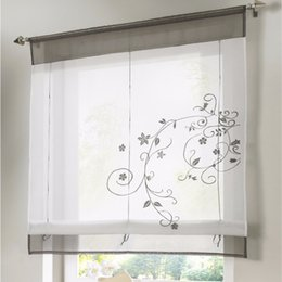 Small curtainS online shopping - Roman Finished Curtain Embroidered Rustic Curtain Blinds For Kitchen Height Liftable Gauze Small Coffee Home Decor