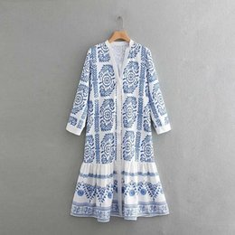 v dresses NZ - 2019 Women Vintage Blue And White Porcelain Print Shirtdress Female V Neck Buttons Chic Vestidos Hem Ruffles Midi Dresses Ds1974 MX190727