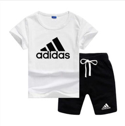 Toddler fashion ouTfiTs online shopping - Brand Logo Luxury Designer Kids Clothing Sets Summer Baby Clothes Print for Boys Outfits Toddler Fashion T shirt Shorts Children Suits
