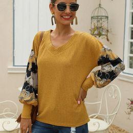 Wholesale blouse women basic online – Fashion Waffle Knit Basic Blouse Casual Spring Winter Ladies Print V Neck Tops Female Women Long Sleeve Shirt Blusas Pullover
