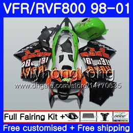 honda vfr interceptor fairings UK - Body Repsol orange hot For HONDA Interceptor VFR800R VFR800RR 98 99 00 01 259HM2 VFR800 VFR 800RR VFR 800 RR 1998 1999 2000 2001 Fairing kit
