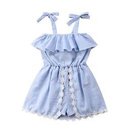 $enCountryForm.capitalKeyWord Australia - Summer Girls Striped Dress Skirt Sleeveless Lace Bowknot Flower Baby Romper Jumpsuit Pantskirt Kids Princess Dress Girl Clothes A52202