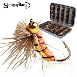 $enCountryForm.capitalKeyWord Australia - lure Sougayilang 40pcs lot Trout Nymph Fly Lure Tackle 3 Colors Fly Fishing Flies with Box Carp Artificial Fish Bait