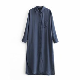 Wholesale elegant long straight dresses for sale – plus size Casual Women Straight Long Shirt Dress Elegant Ladies Turn Down Solid Buttons Split Dress Loose Pocket Midi Dresses Vestidos