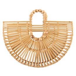 hand made bags style Australia - New style hollow half round moon shape wooden bead bamboo handbag hand made bamboo basket straw beach bag bamboo tote bag for summer holiday