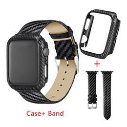 Thin leaTher waTch band online shopping - Twill Weave Genuine Leather Band Ultra Thin Carbon Fiber Case Protective Frame For Apple Watch Band Cover Series iWatch Leather Band