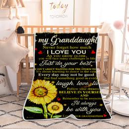 Fleece carpet online shopping - Sunflower Printed Blanket Single Layer Fleece Air Conditioning Blankets Velvet Carpet Napping Cape Kids Adult Letter Cloak styles GGA2661