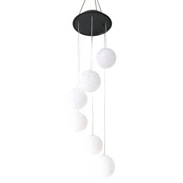 solar color lighting UK - BESTOYARD Round Ball Wind Chimes LED Solar Mobile Wind Chime Color Changing Automatic Light Sensor Wind Spinner Lamp for Patio