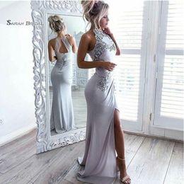 $enCountryForm.capitalKeyWord Australia - Halter Appliques Split Mermaid Prom Dresses Vestidos De Festa Evening Wear In Stock Hot Sales High-end Occasion Dress