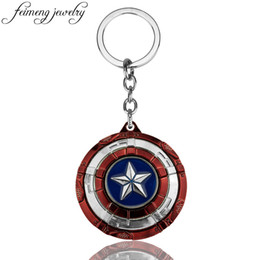 $enCountryForm.capitalKeyWord UK - The Avengers Captain America Keychain Superhero Star Shield Pendant Car Key Chain Accessories Batman llaveros Marvel Keychain