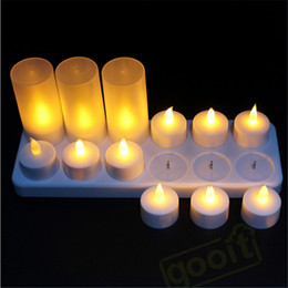 led tea light candle flicker NZ - Yellow Flicker Led Candles Rechargeable Tea lights Candle Lamp  Battery Operated Decorative Candles For Wedding