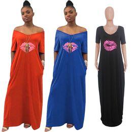Ladies straight dresses sLeeves online shopping - Women Maxi Dress Summer V Neck Lips Print Ladies Casual Long Dresses Fashion Short Sleeve Off Shoulder Beach African Sundress S XL C43007