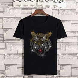$enCountryForm.capitalKeyWord Australia - Fashion-19ss Tiger Head T Shirts For Men Casual Hot Diamond Cotton Mens Designer T-shirt Summer Hip Hop Men Clothes