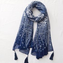 Scarf Shawl Linen Cotton Australia - Printed Cotton and Linen Tassel Scarf Spring and Summer Thin Travel Blue and White Porcelain Sunscreen Shawl Beach Towel