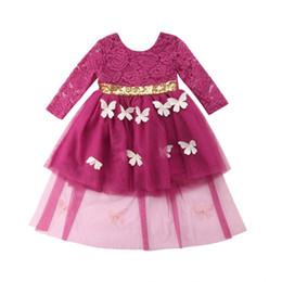 Long Sleeve Full Length Dresses UK - Princess Baby Girls Long Sleeve Lace Bridemaid Party Dress Kids Sundress