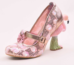 pink glitter shoes NZ - Free shipping 2019 Lady 3D coloured drawings Flamingo Bird 10CM High Heels Glitter Round Toes Women Pumps Mary Janes shoe hollow out Green