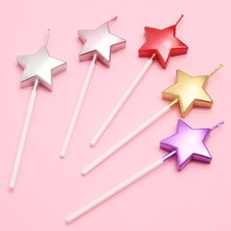 Love Star Flame Sparkle Birthday Cake Party Creative Candle Colored Smoke Free Decoration Home Garden Festive Supplies