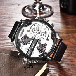 dual time watches men UK - Oulm Brand Super Big Dial Men's Watches Dual Time Zone Watch Casual PU Leather Men Quartz Wristwatch