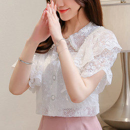 $enCountryForm.capitalKeyWord Australia - New Summer Tops Women Blouses Sweet Lace Panelled Chiffon Shirts Peter Pan Collar Ruffles Flare Sleeve Short Sleeve Blouse Z2042