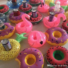 $enCountryForm.capitalKeyWord Australia - New Flamingo Inflatable donuts lemon watermelon Floating Drink Bottle Holder Lovely Pink Floating Bath Kids Toys For Kids Can Floats